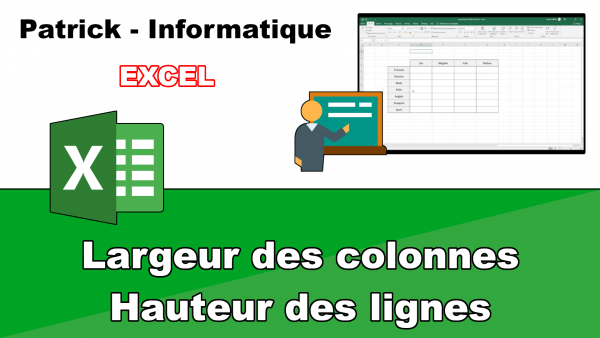 Excel 2019 - Colonnes et lignes